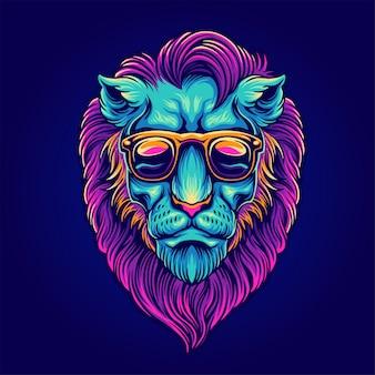 Portrait de lion avec des lunettes de soleil