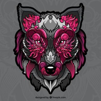 Portrait de loup ethnique