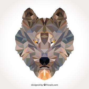 Portrait de loup polygonal