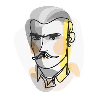 Portrait masculin dans un style art design plat