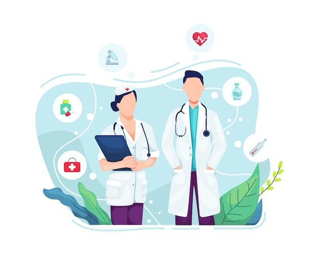 Portrait de médecin et infirmière