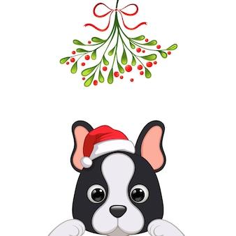 Portrait de noël du personnage de chien mignon