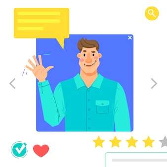 Portrait of man - avatars graphiques pour les réseaux sociaux ou site de rencontres. le gars agite sa main en guise de salutation. illustration