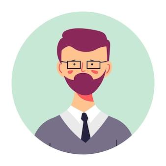 Portrait d'un personnage de bière barbu portant des vêtements formels, un costume et une cravate. professeur d'université, jeune enseignant ou étudiant de collège. tenue d'adolescent avec barbe, vecteur de personnage confiant à plat