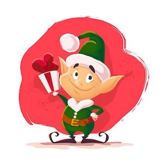 Portrait de personnage elfe du père noël de noël. illustration de style dessin animé. bonne année, élément joyeux noël. bon pour la carte de félicitations, flayer, affiche.