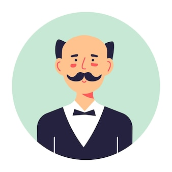 Portrait de personnage masculin avec moustache, bannière de cercle isolé avec homme d'âge moyen. travailleur de majordome portant un costume officiel avec un nœud papillon. personnage ridé en pensées, vecteur brune à plat