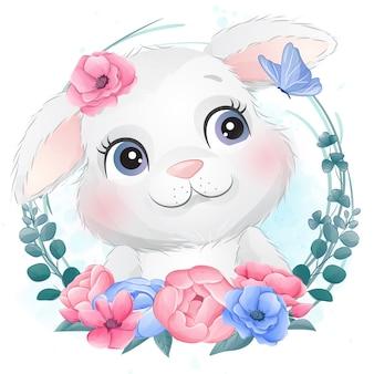 Portrait de petit lapin mignon avec floral