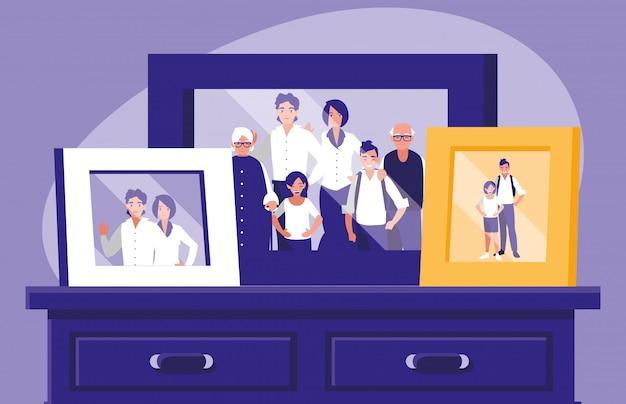 Portrait avec photo de membres de la famille dans le tiroir