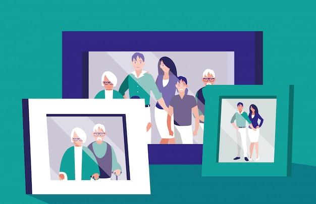 Portrait avec photo de membres de la famille