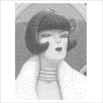 Portrait en pointillé noir et blanc