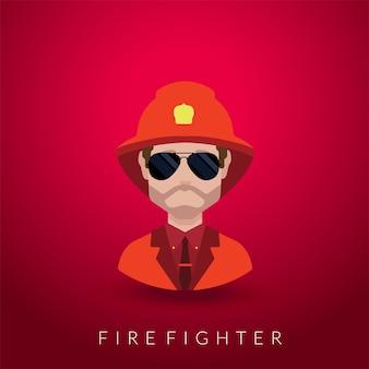 Portrait de pompier isolé sur rouge