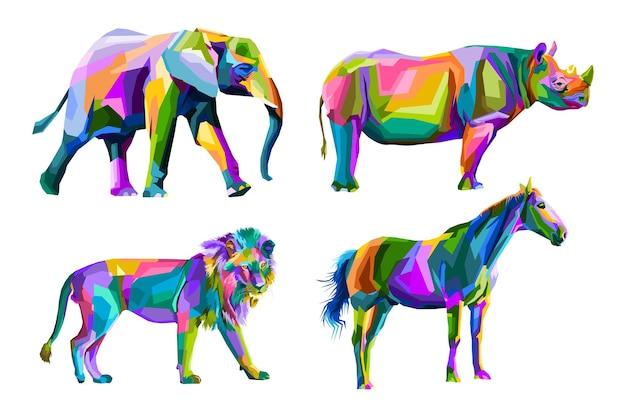 Portrait de pop art animal coloré premium