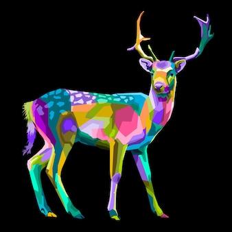 Portrait pop art cerf coloré