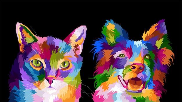 Portrait pop art chat et chien coloré