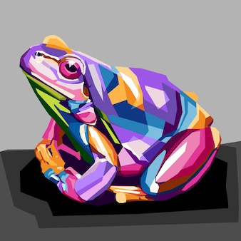 Portrait pop art grenouille colorée