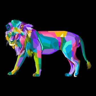 Portrait de pop art lion coloré