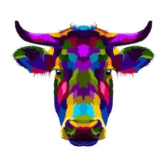 Portrait pop art vache colorée