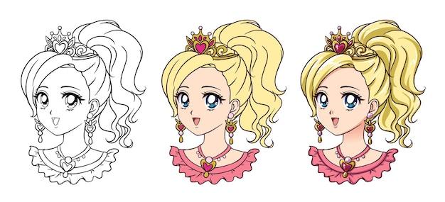 Portrait de princesse anime mignon.