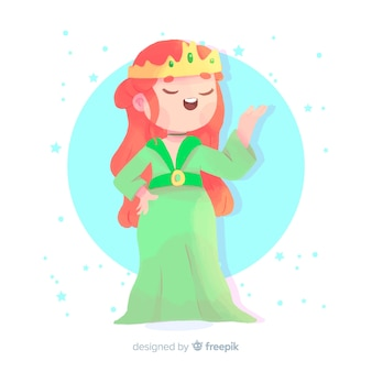 Portrait de princesse au gingembre dessiné à la main