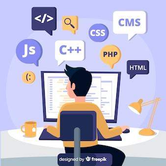 Portrait de programmeur travaillant avec pc