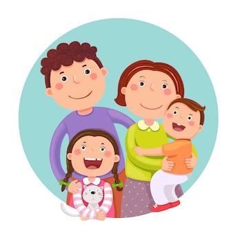 Portrait de quatre membres de la famille heureuse posant ensemble. parents avec enfants et animaux de compagnie