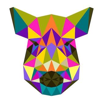 Portrait de sanglier géométrique triangle polygonale isolé sur blanc