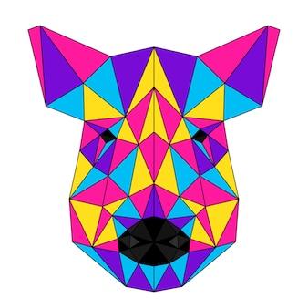 Portrait de sanglier polygonal abstrait. tête de cochon moderne low poly isolée sur blanc pour carte, pancarte de clinique vétérinaire, invitation à une fête moderne, livre, affiche, impression de sac, t-shirt, etc.
