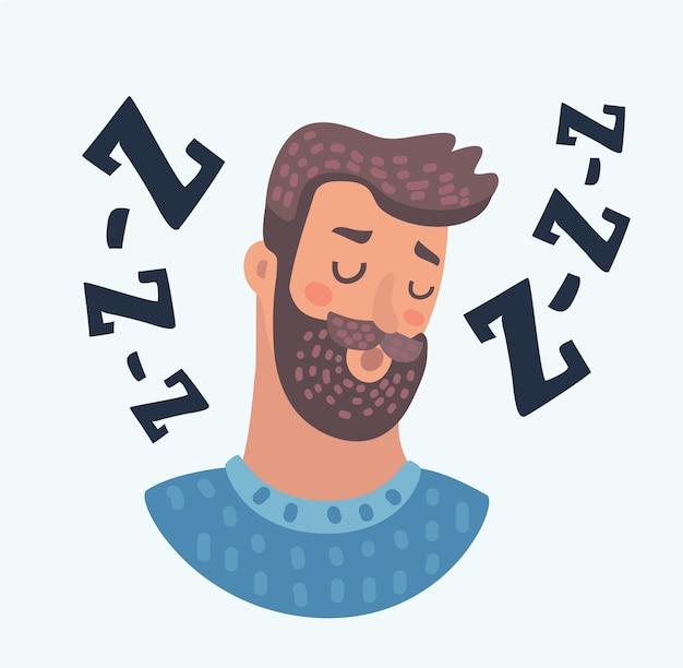 Portrait de signe d'icône avatar profil. homme persor avec illustration d'yeux endormis sur fond de cercle