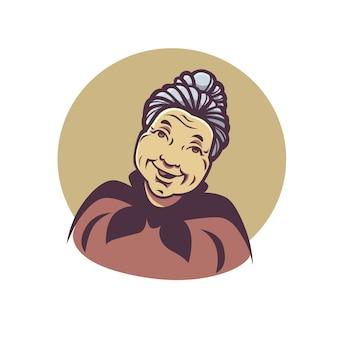 Portrait de vecteur de belle grand-mère