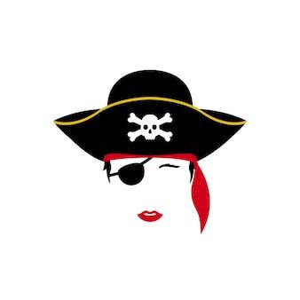 Portrait de vecteur de dame pirate