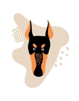Portrait de vecteur d'illustration de dessin animé doberman avec chien pour l'autocollant ou la carte d'affiche d'impression