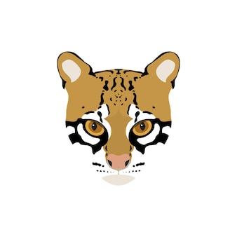 Portrait de vecteur d'ocelot de chat sauvage.