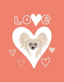 Portrait de vecteur de papillon cartoon illustration avec chien et lettrage love
