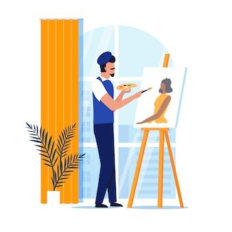 Portraitiste professionnel au travail illustration plate