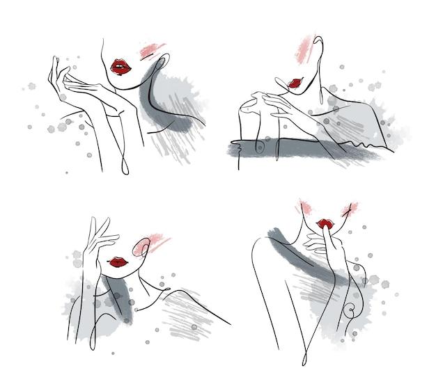 Portraits artistiques de beauté, illustration vectorielle de dessin au trait