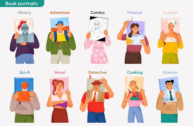 Portraits sur les couvertures de livres. les gens lisent des livres de différents genres