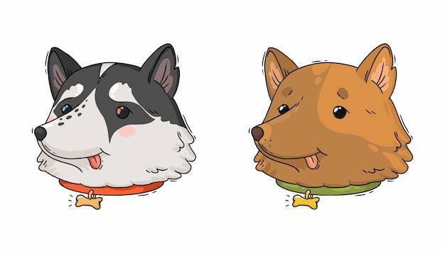 Portraits de dessins animés de chien husky et de retriever brun