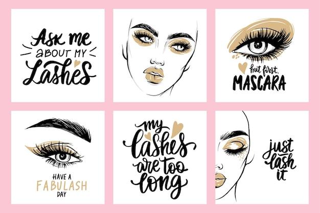Portraits féminins de mode, citations sur les cils et le mascara. femme aux longs cils.
