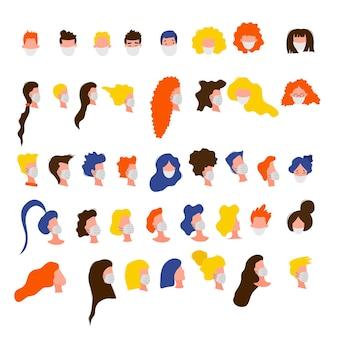 Portraits d'hommes et de femmes masqués isolés sur fond blanc. épidémie de coronavirus 2019-ncov. concept d'épidémiologie pandémique. plate illustration vectorielle.
