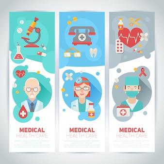 Portraits de médecins sur les bannières