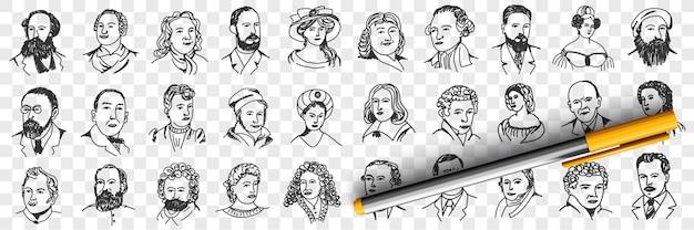 Portraits de personnes d'âge moyen doodle set illustration