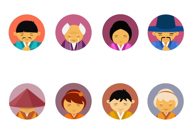 Portraits de personnes asiatiques ensemble d'hommes et de femmes en vêtements traditionnels collection d'icônes d'avatar masculin masculin