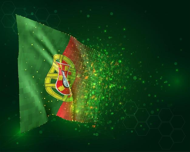 Portugal, drapeau 3d sur fond vert avec des polygones