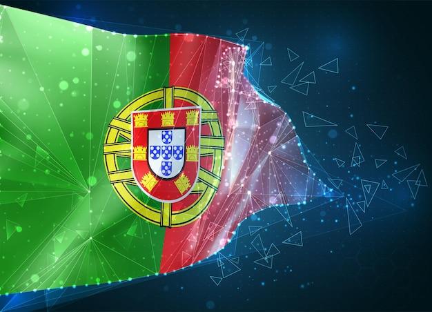 Portugal, drapeau, objet 3d abstrait virtuel de polygones triangulaires sur fond bleu