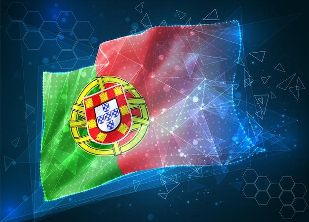 Portugal, drapeau vectoriel, objet 3d abstrait virtuel à partir de polygones triangulaires sur fond bleu