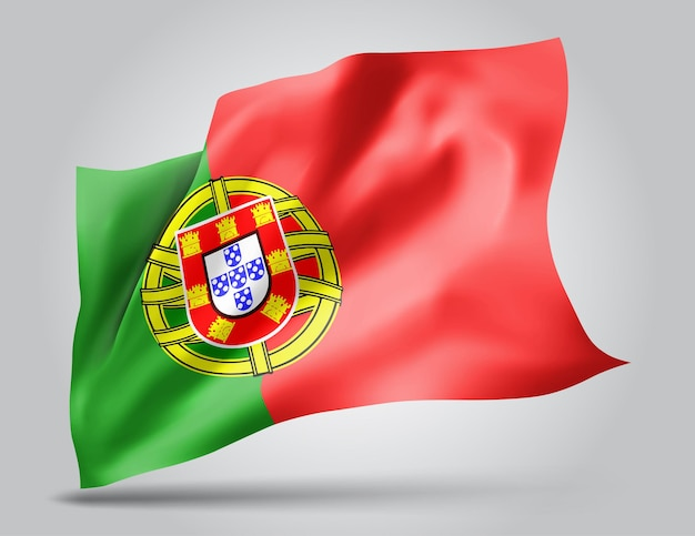 Portugal, drapeau vectoriel avec des vagues et des virages ondulant dans le vent sur fond blanc.