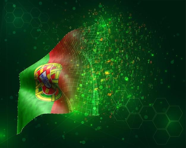 Portugal, vecteur drapeau 3d sur fond vert avec des polygones et des numéros de données