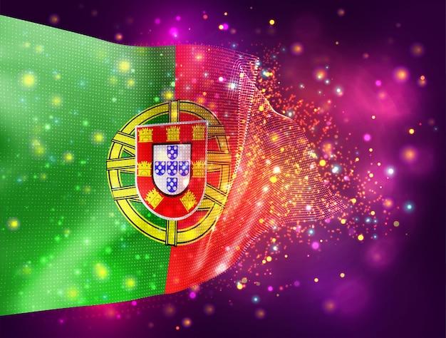 Portugal, vecteur drapeau 3d sur fond violet rose avec éclairage et fusées éclairantes