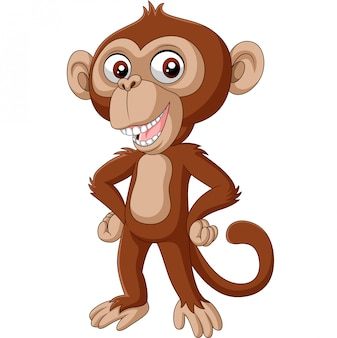 Posant de dessin animé mignon bébé chimpanzé