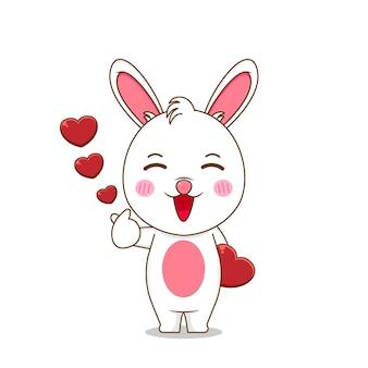 Pose d'amour de doigt de lapin mignon